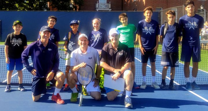 Caption: The Weston 12u and 18u Intermediate teams competing at Yale; From left to right, (back row) Ludo Pauliny, Rohak Gulia, Sachin Radhakrishnan, Calista Finkelstein, Spencer Quinn, Albert Bostoen, Danielle Oren, Adrik Scaramuzza; (front row) WRC Coach Rob Rios, WRC Director of Tennis Angelo A. Rossetti & WRC Coach Kevin Van Rensberg