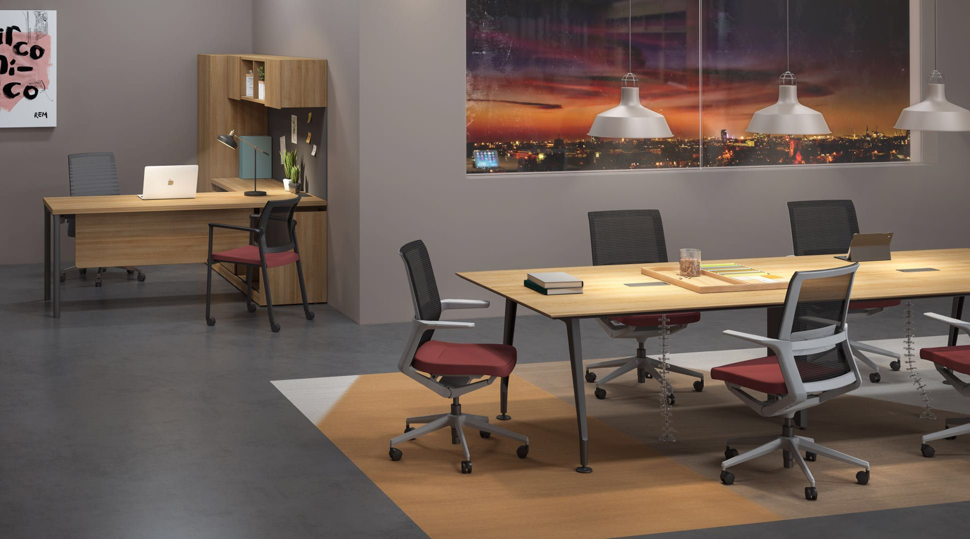 Vello Conference room with private office space_Smarti MP w orange seat_FD Series conference table.jpg