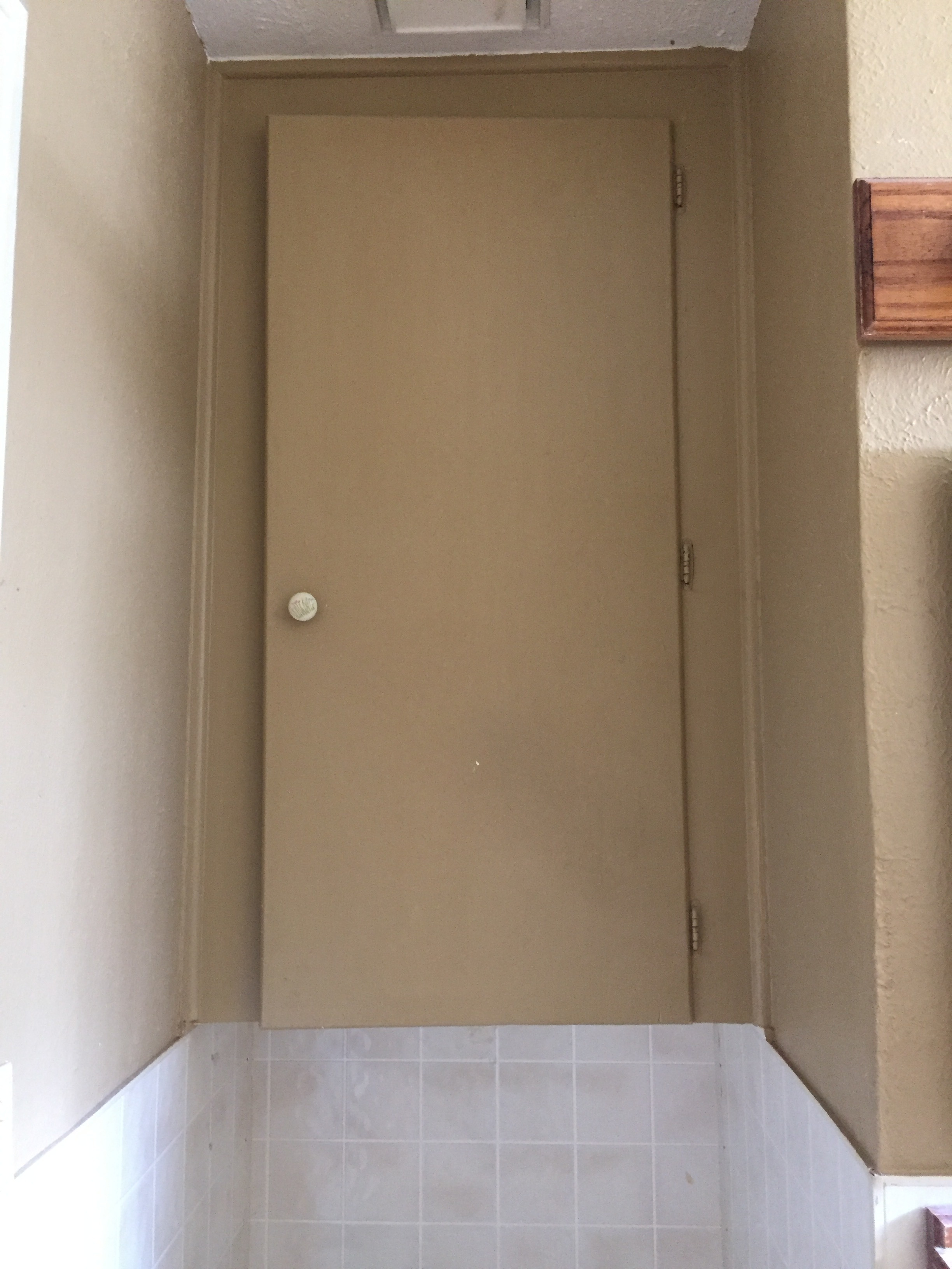 Cabinet that sat above the toilet. The entire house was oriented for a shorter resident, so we were hitting our head on this cabinet sitting down.