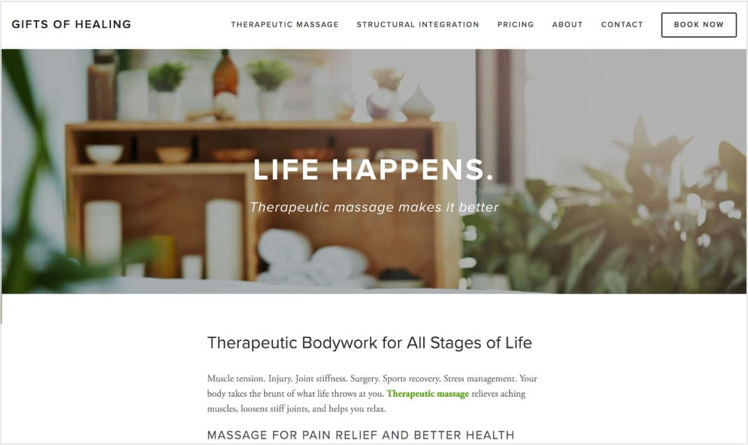 Gifts of Healing | Therapeutic Massage - Website designInformation architectureCopywriting and editingSearch engine optimization (SEO)Site migration