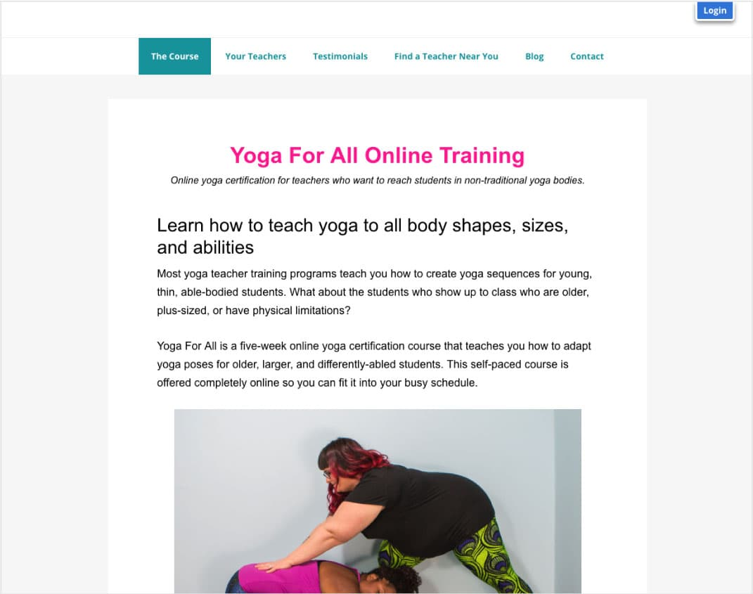 Yoga For All TrainingOnline Training Created by Dianne Bondy & Amber Karnes - Information architectureCopywriting and editingSearch engine optimization (SEO)Marketing consulting