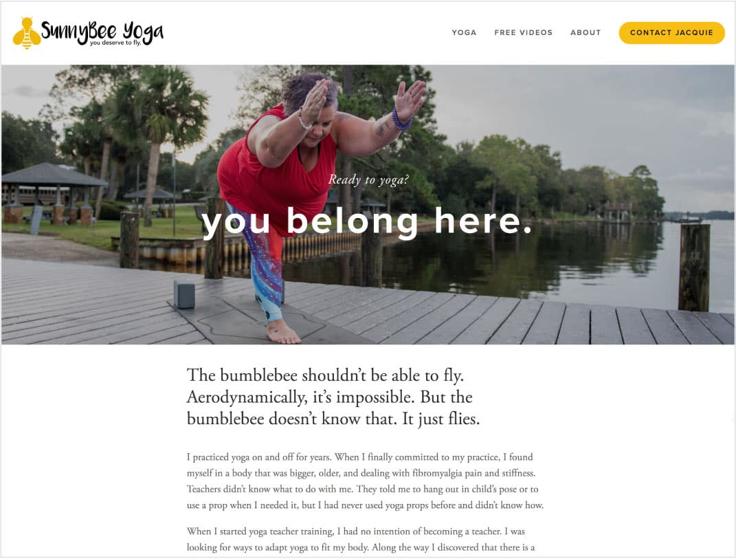 SunnyBee Yoga - Website designInformation architectureContent creationCopyediting for the webCopy layout for webSearch engine optimization (SEO)