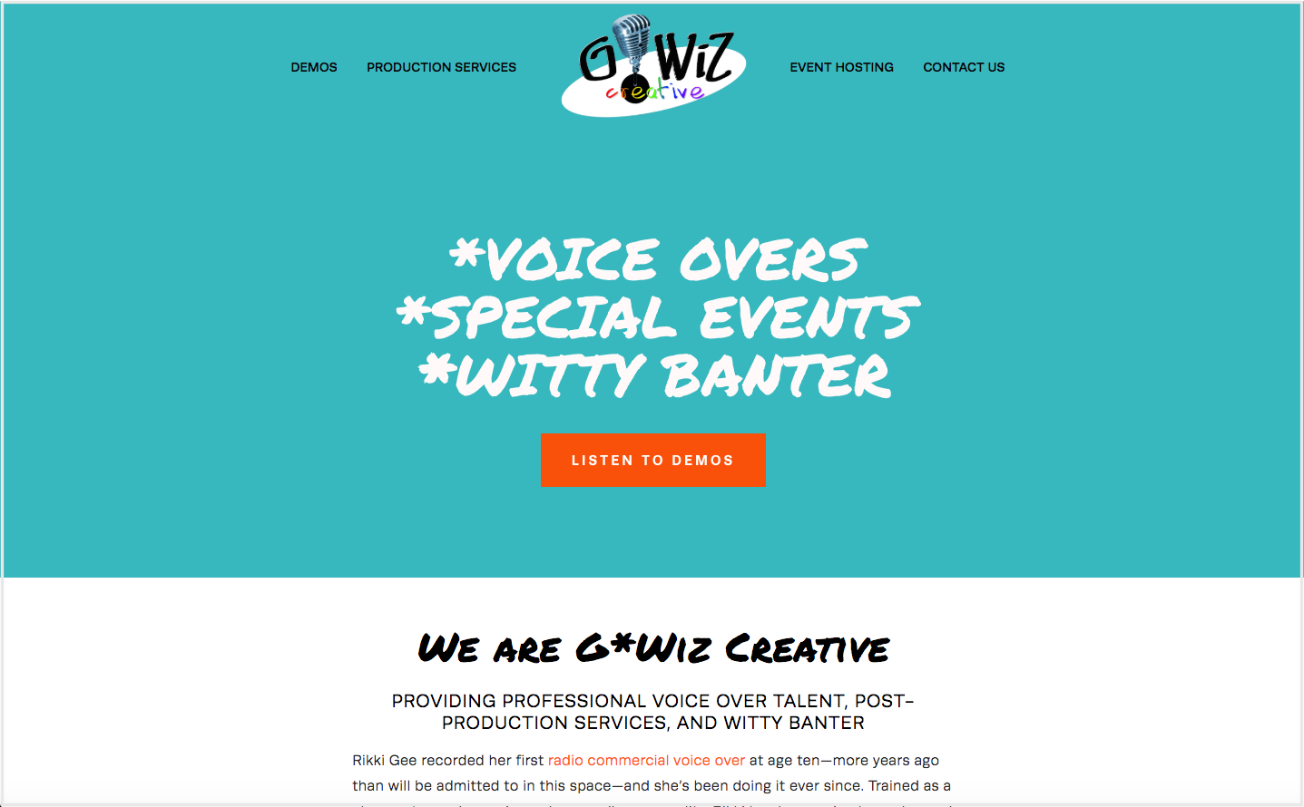 G*Wiz Creative | Voice Overs & Event Hosting - Website designInformation architectureContent creationCopyediting for the webCopy layout for webSearch engine optimization (SEO)Site migration