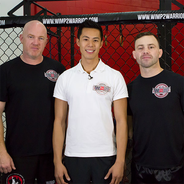 Dr Steve working with MMA coach Richie Cranny, and former UFC Lightweight Champion, Jens Pulver