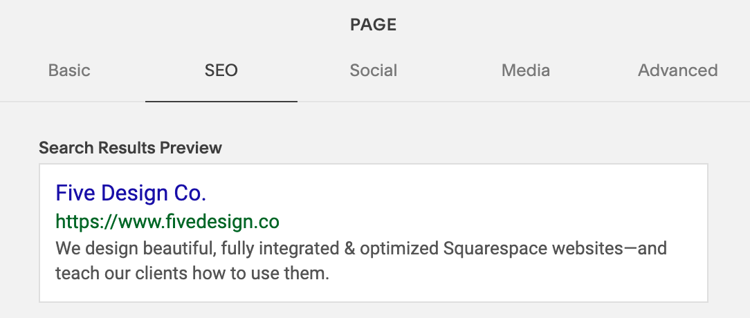 SEO Page Description and Search Results Preview // 5 Things You Should Be Customizing on Your Squarespace Website // Five Design Co.