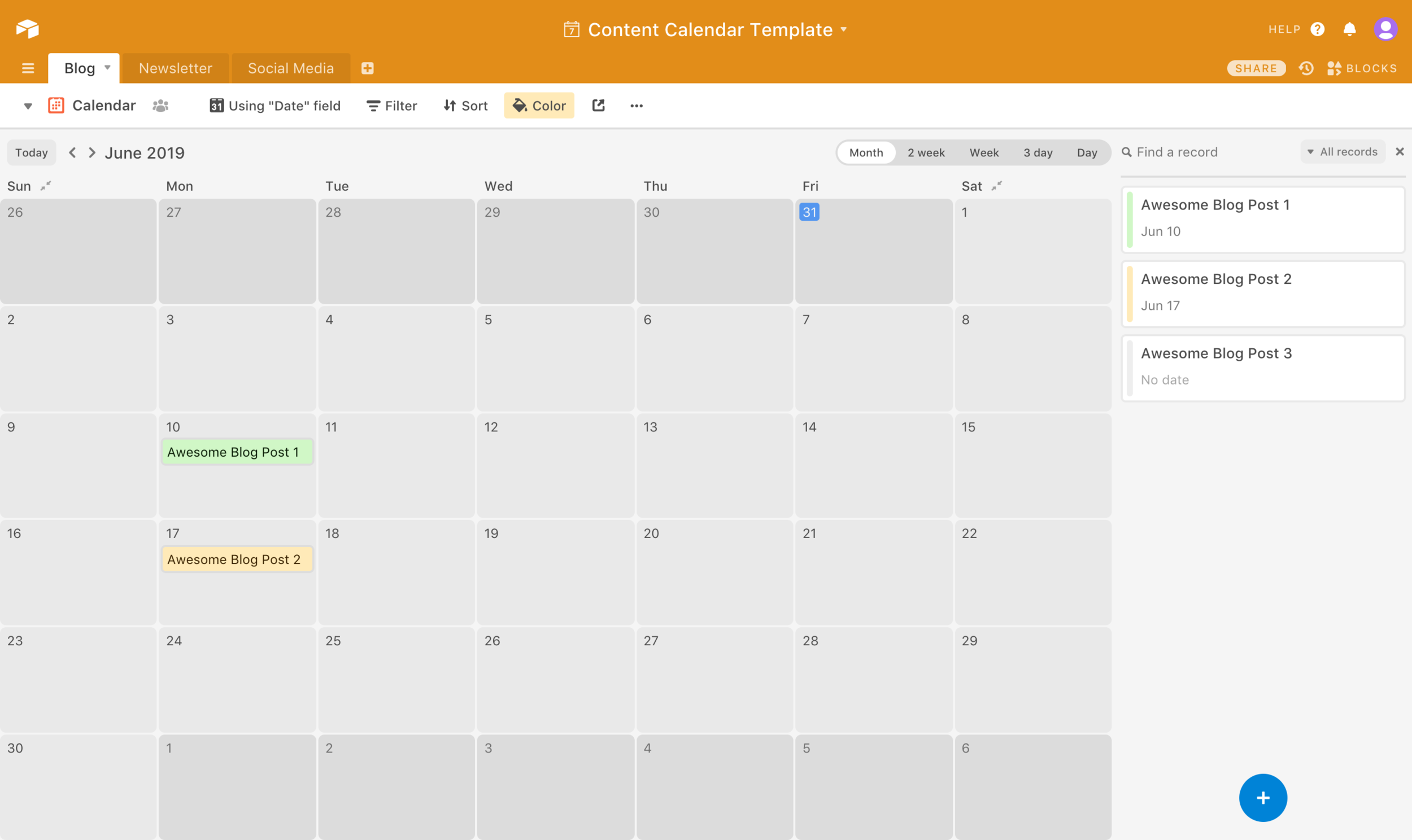 Airtable content calendar template // How to Plan a Content Calendar for Your Blog // Five Design Co.