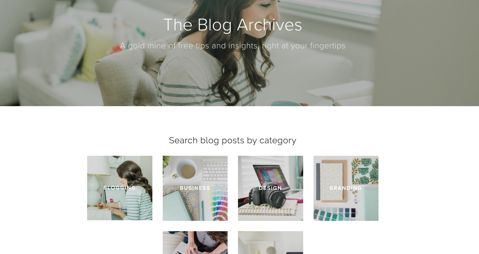 Squarespace blog post index with summary blocks and page links // How to Set Up Your Blog Archive on Squarespace // Five Design Co.