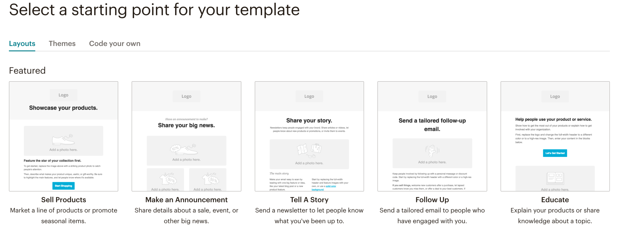 Choosing a Mailchimp template for your business // How to Craft the Perfect Email Newsletter in Mailchimp // Five Design Co. Squarespace web design, blogging and entrepreneurship resources