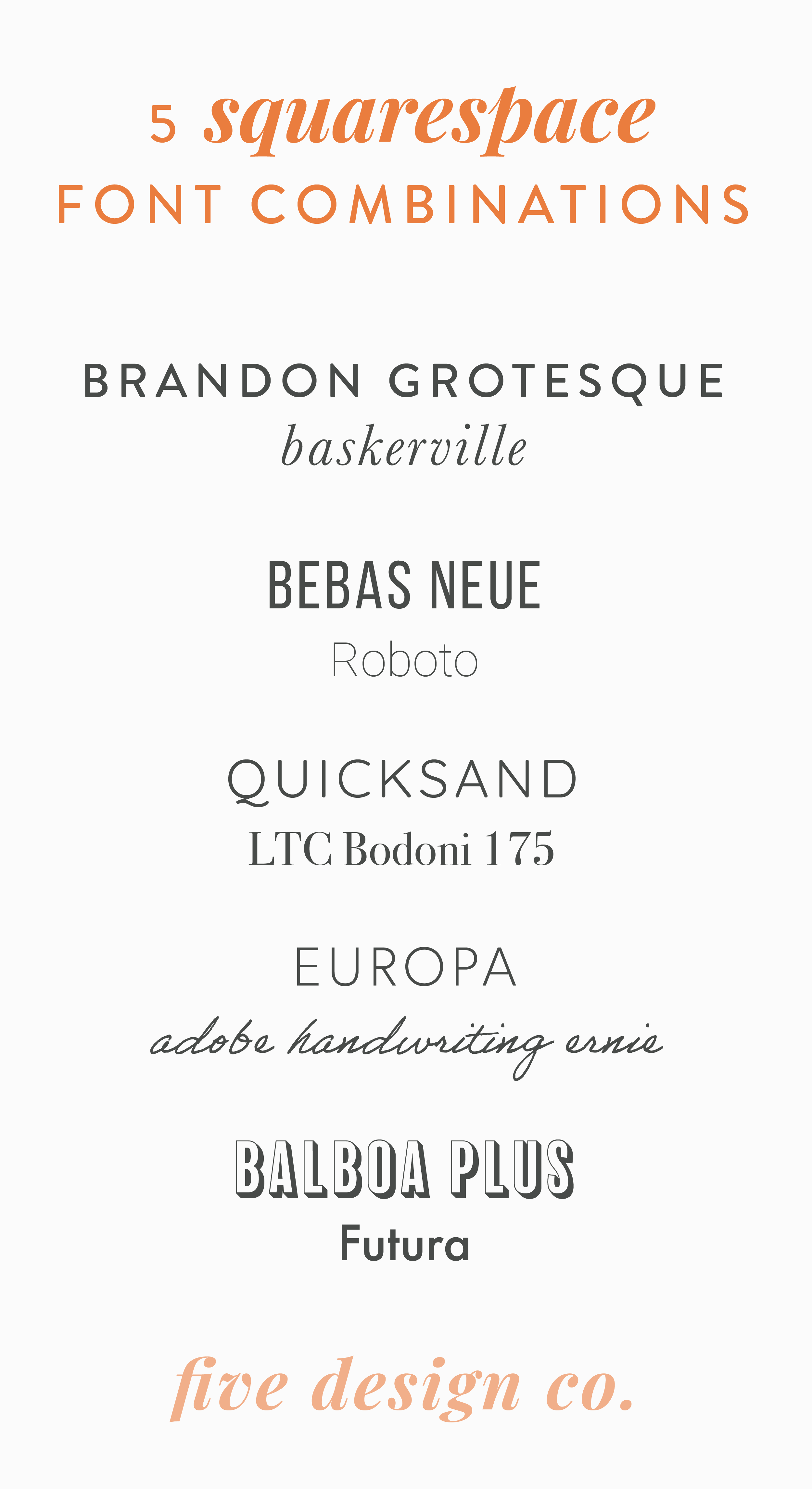 Best Squarespace font combinations // How to Create a Brand Style Guide for Your Business // Five Design Co.