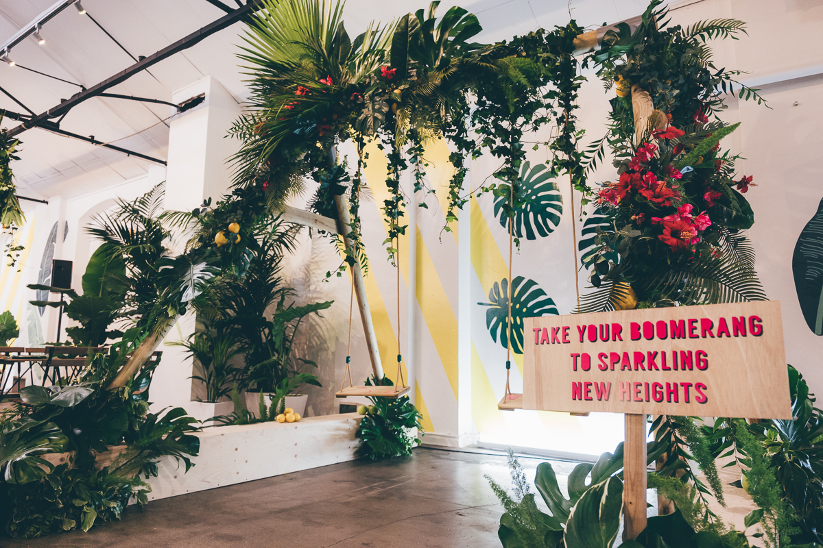 Inside the Shoreditch warehouse with all the tropical installations
