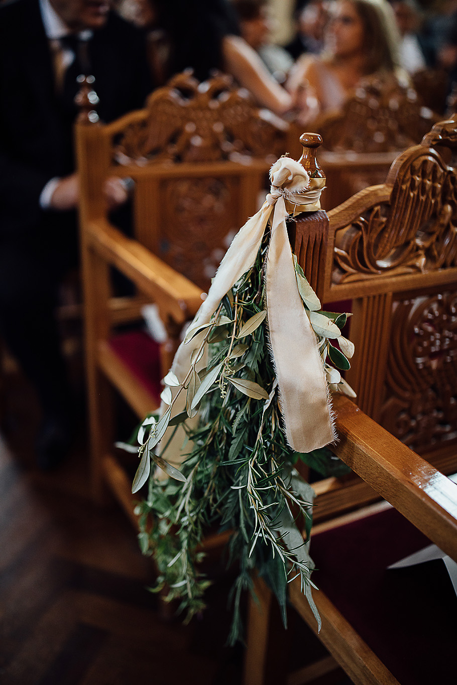 Foliage only pew end with raw silk golden ribbon