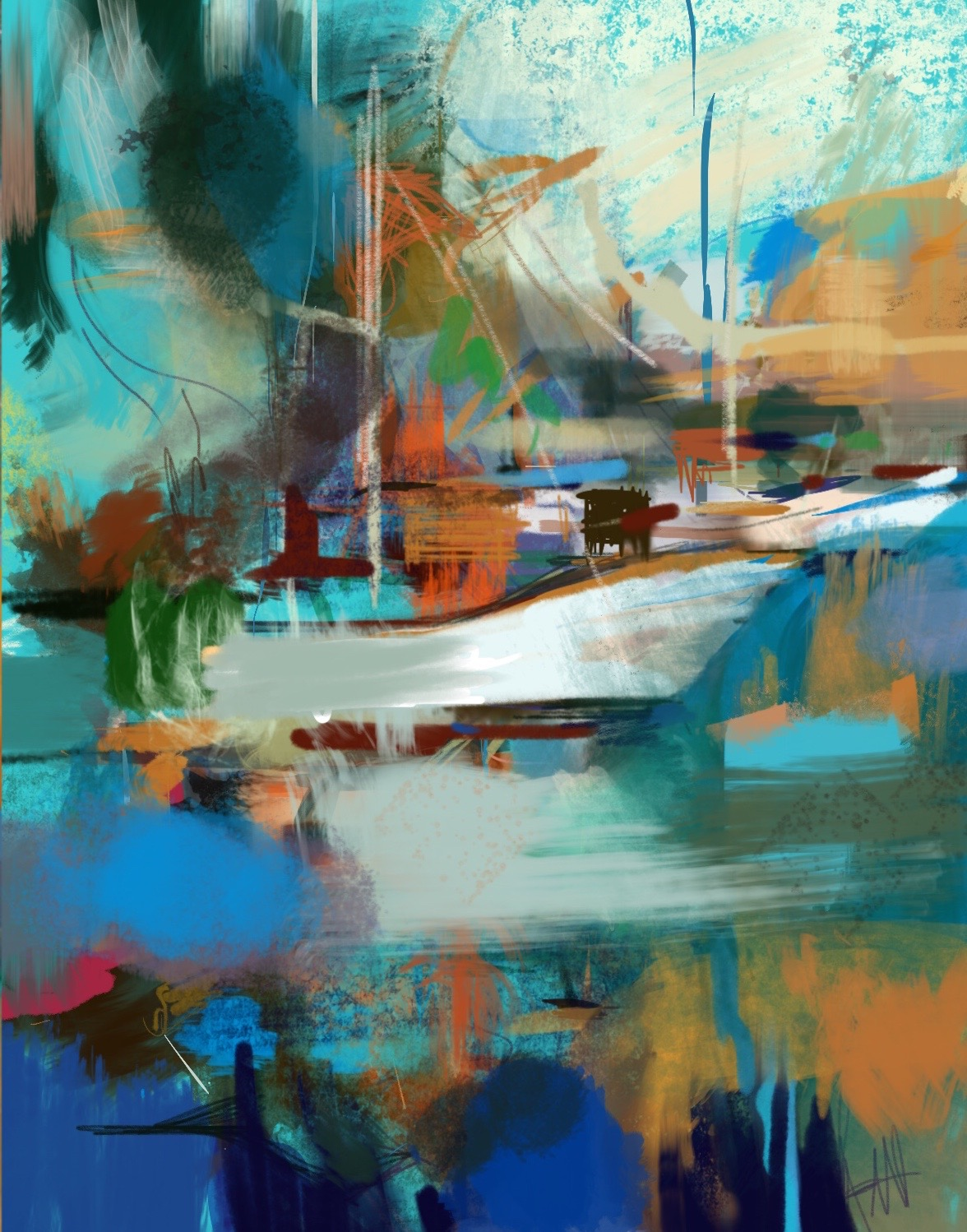 Abstract Boats, iPad composition