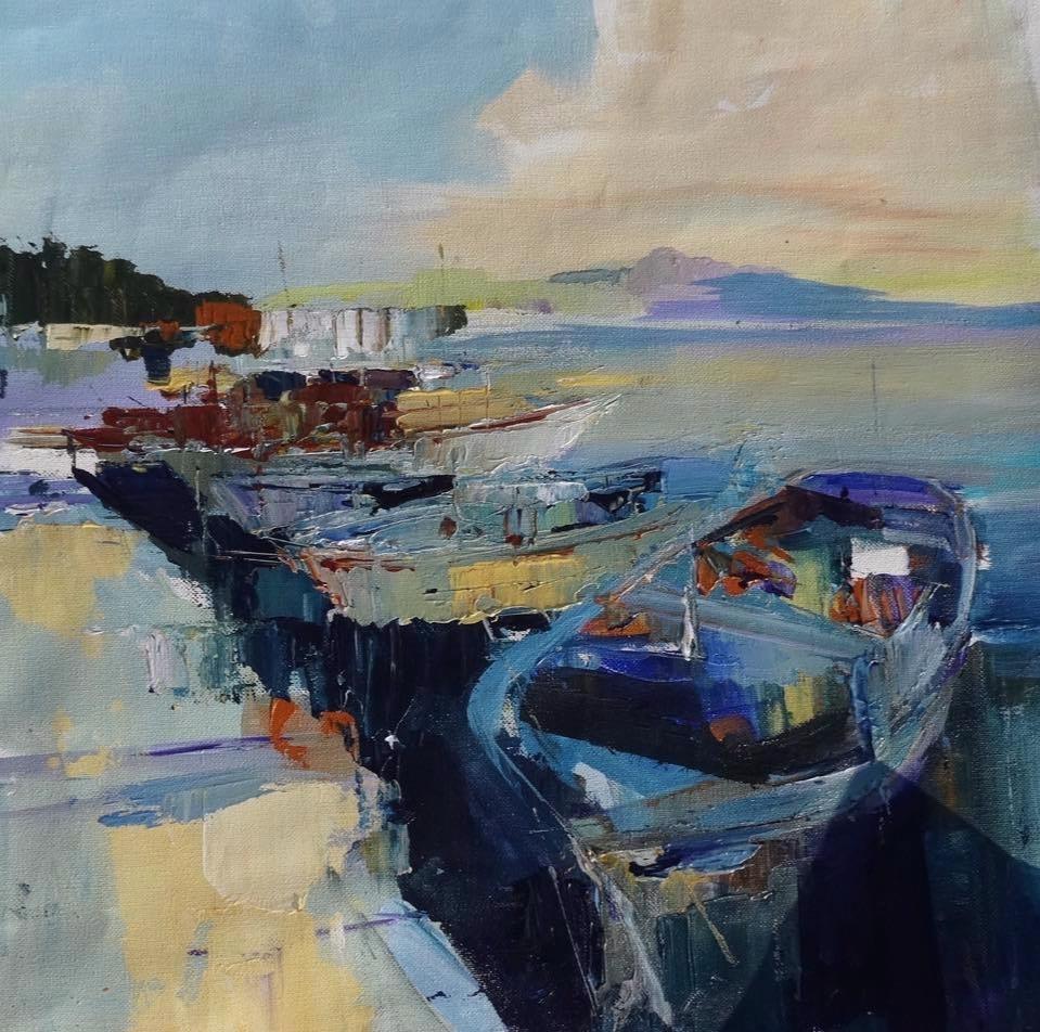 Spanish harbour, acrylic on canvas