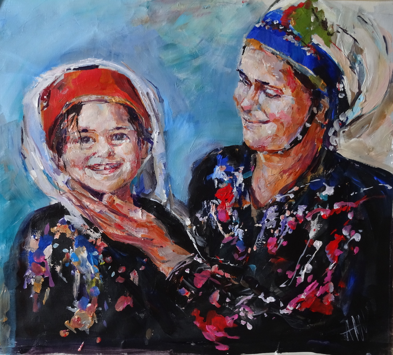 Turkish mother and daughter, acrylic on canvas