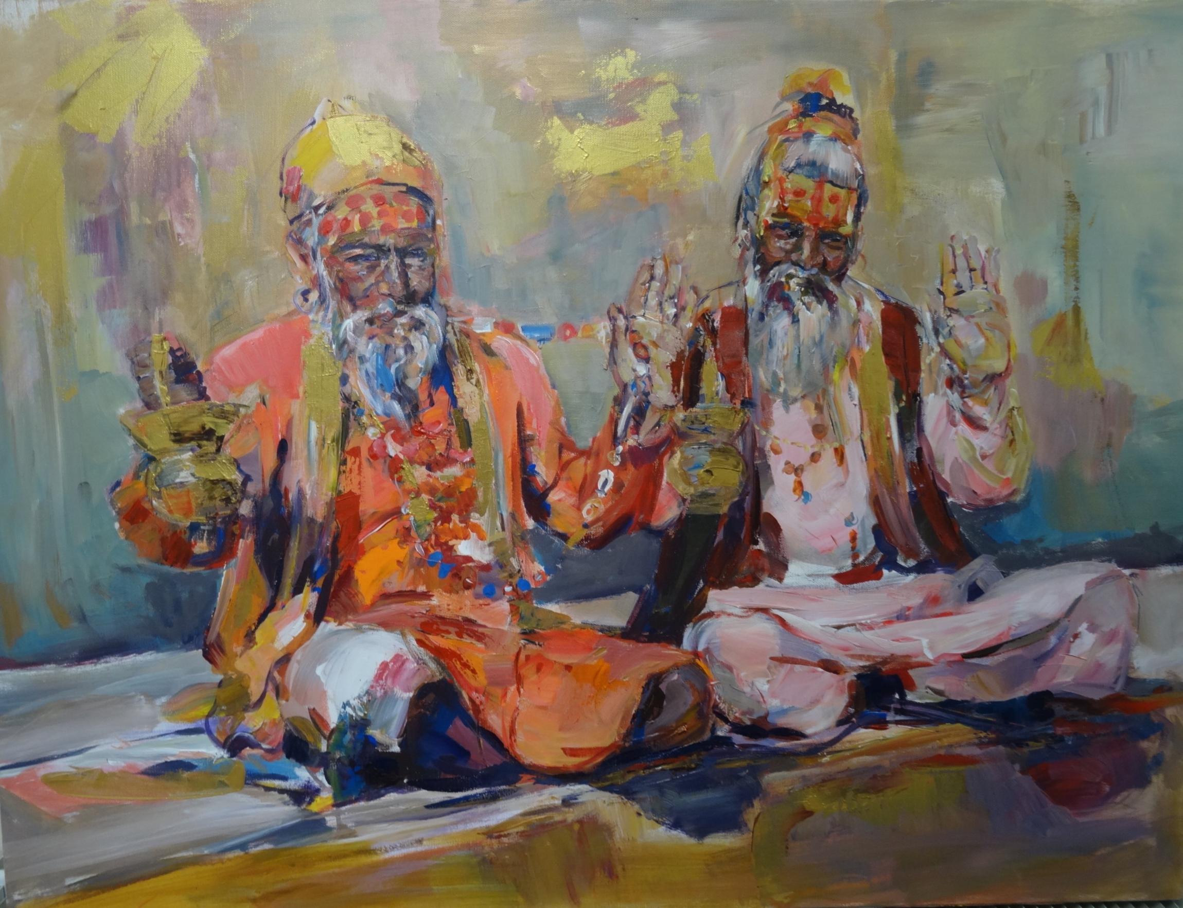 Indian Sadhis, acrylic on canvas