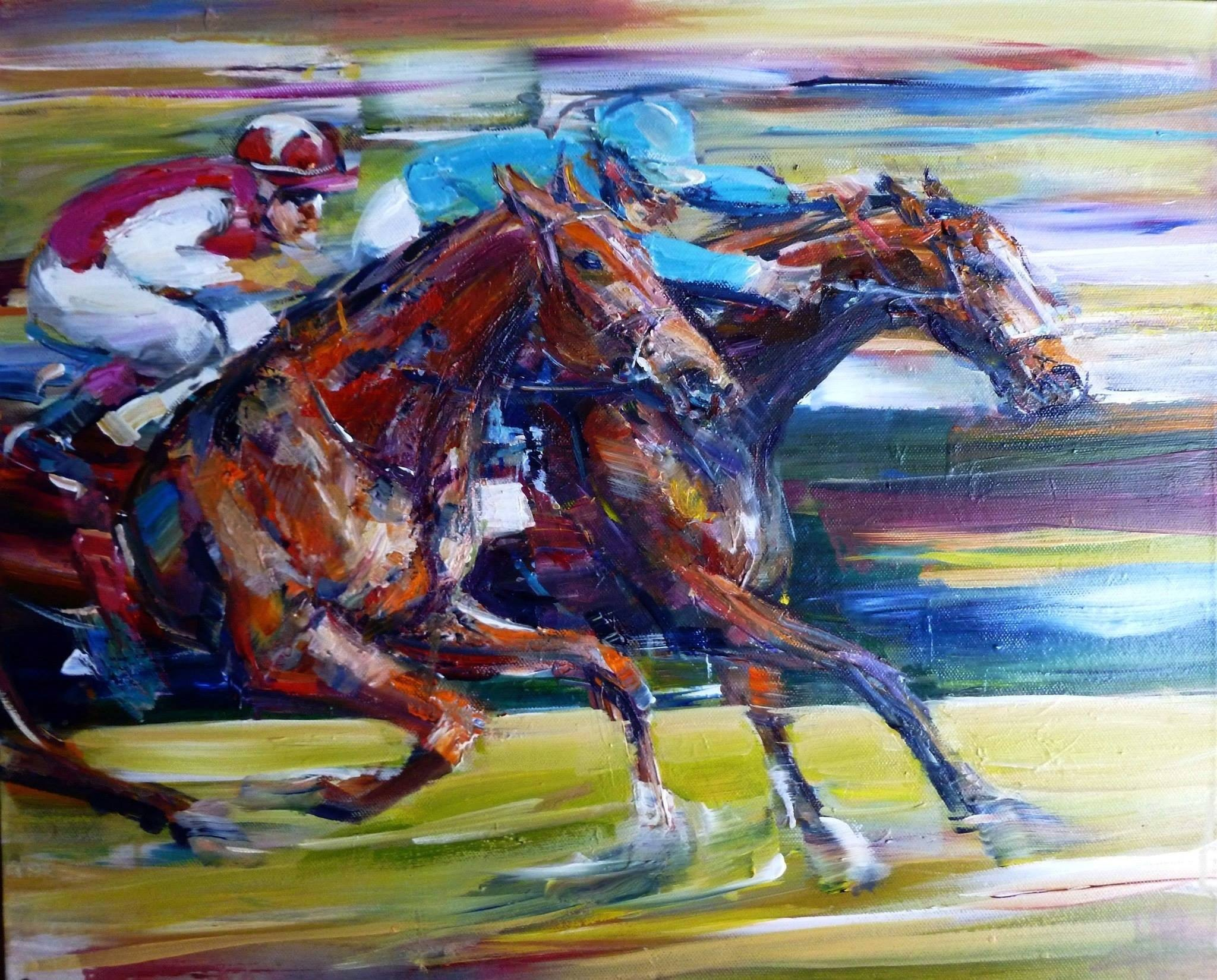 Coming into the Finish, acrylic on canvas