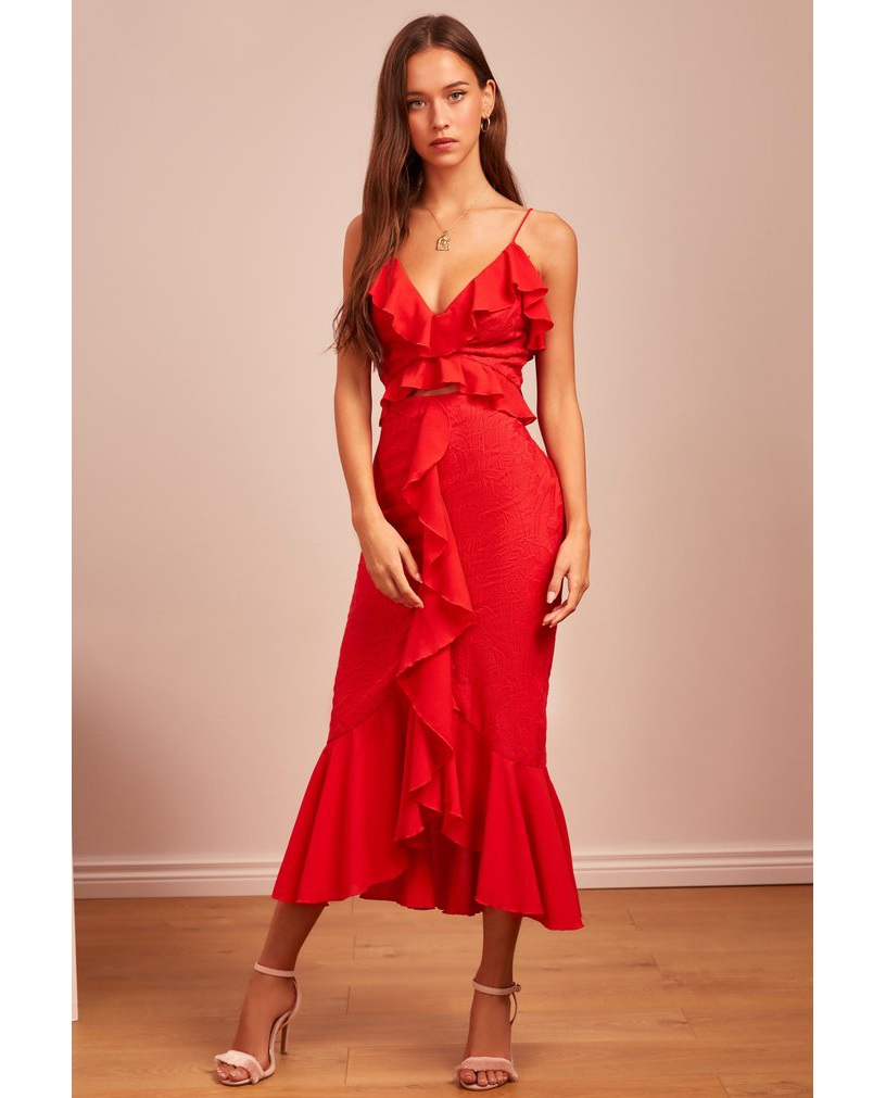 FINDERS KEEPERS – Red Ruffle Midi Dress, £30 to hire (£165 to buy)