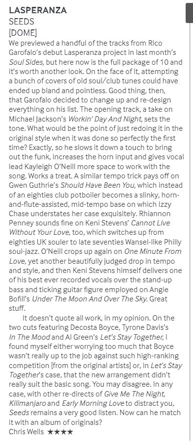 Review by Chris Wells, Echoes Magazine, April 2019. -