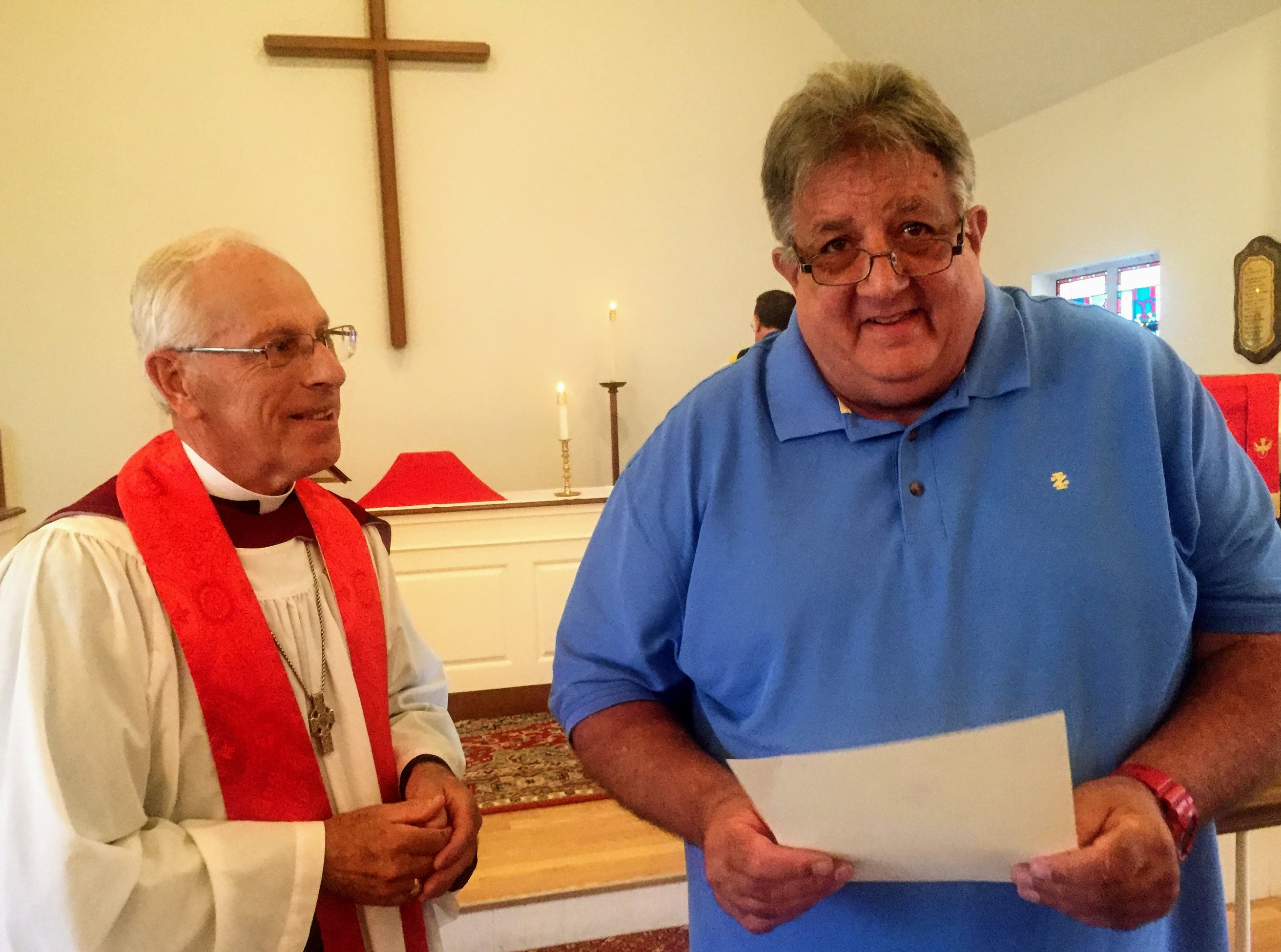 Pastor Rich and Les Scott with Confirmation Certificate