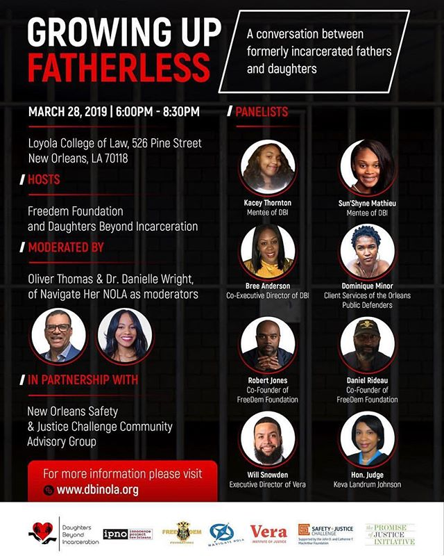 (Event) Growing Up Fatherless: A Conversation Between Formerly Incarcerated Fathers and Daughters. Please join us on March 28th, 6PM at Loyola College of Law for a very important conversation. We have an amazing panel ready to discuss! Reserve your ticket today! . . #DBI #DBINola #GrowingUpFatherless #Events #NolaEvents #Issues #LetsTalk #Loyola #openconversation
