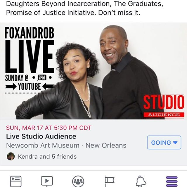Don't have plans today ? Come check out DBI on @foxandrob show today! Live studio audience 5:30pm at Tulane NewComb Art Museum #dbinola