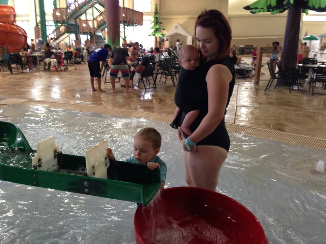 Navigating the waterpark with a toddler and an infant!