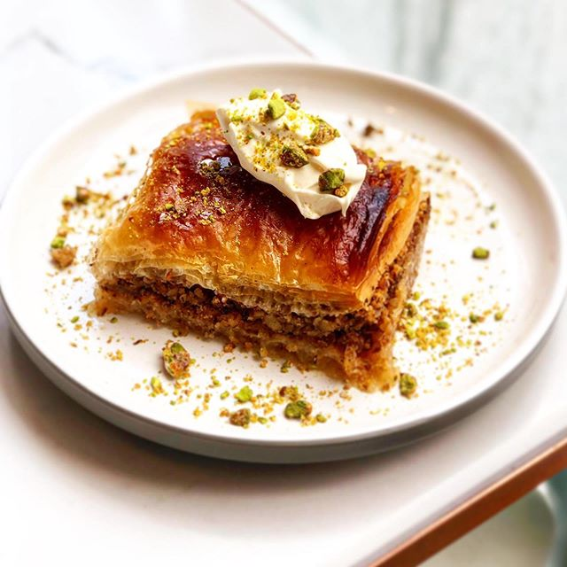 Homemade walnut baklava, clotted cream, salted caramel pistachios.. dreams do come true! #eatinortakehome #harpenden #stalbans #berkhamsted @tabure_kitchen #chefslife