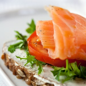Salmon canape with tomato and lettuce by Nutritional Therapist