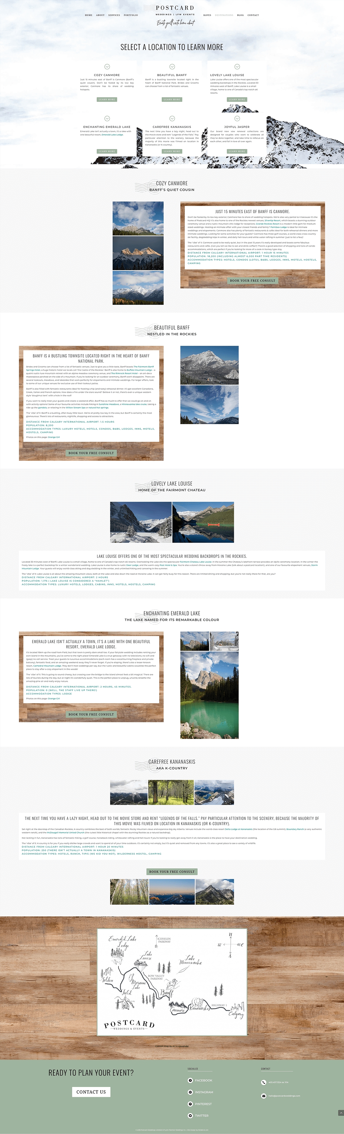 destinations-page-Postcard Weddings-website-design