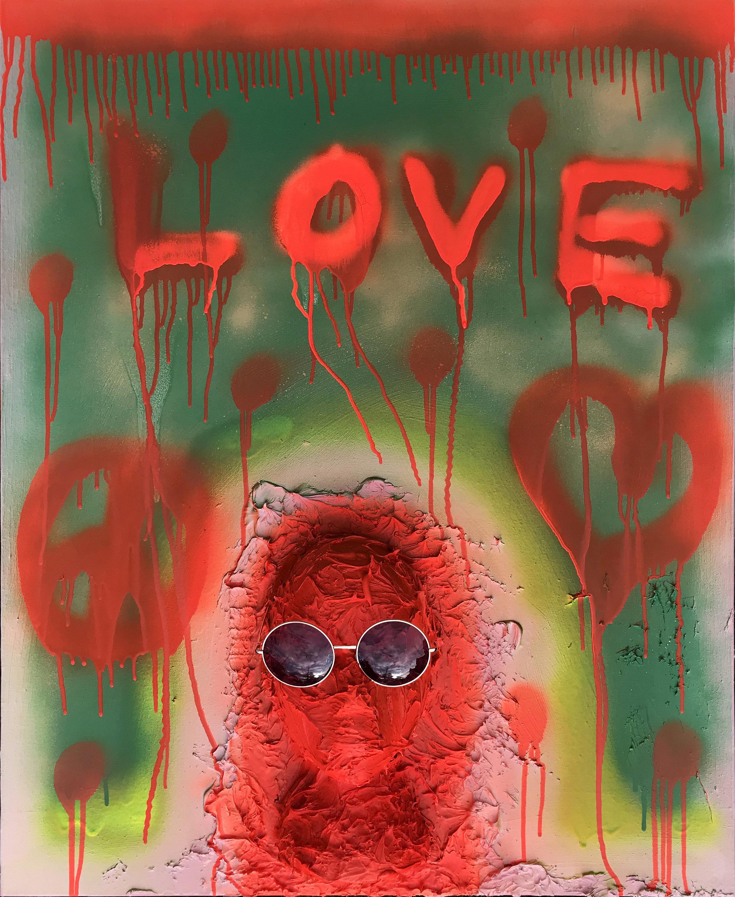 GERALD O'DOWD   John Lennon: Working Class Hero (2019) Acrylic, aerosol spray paint, polystyrene, adhesive on canvas 86 x 71 cm