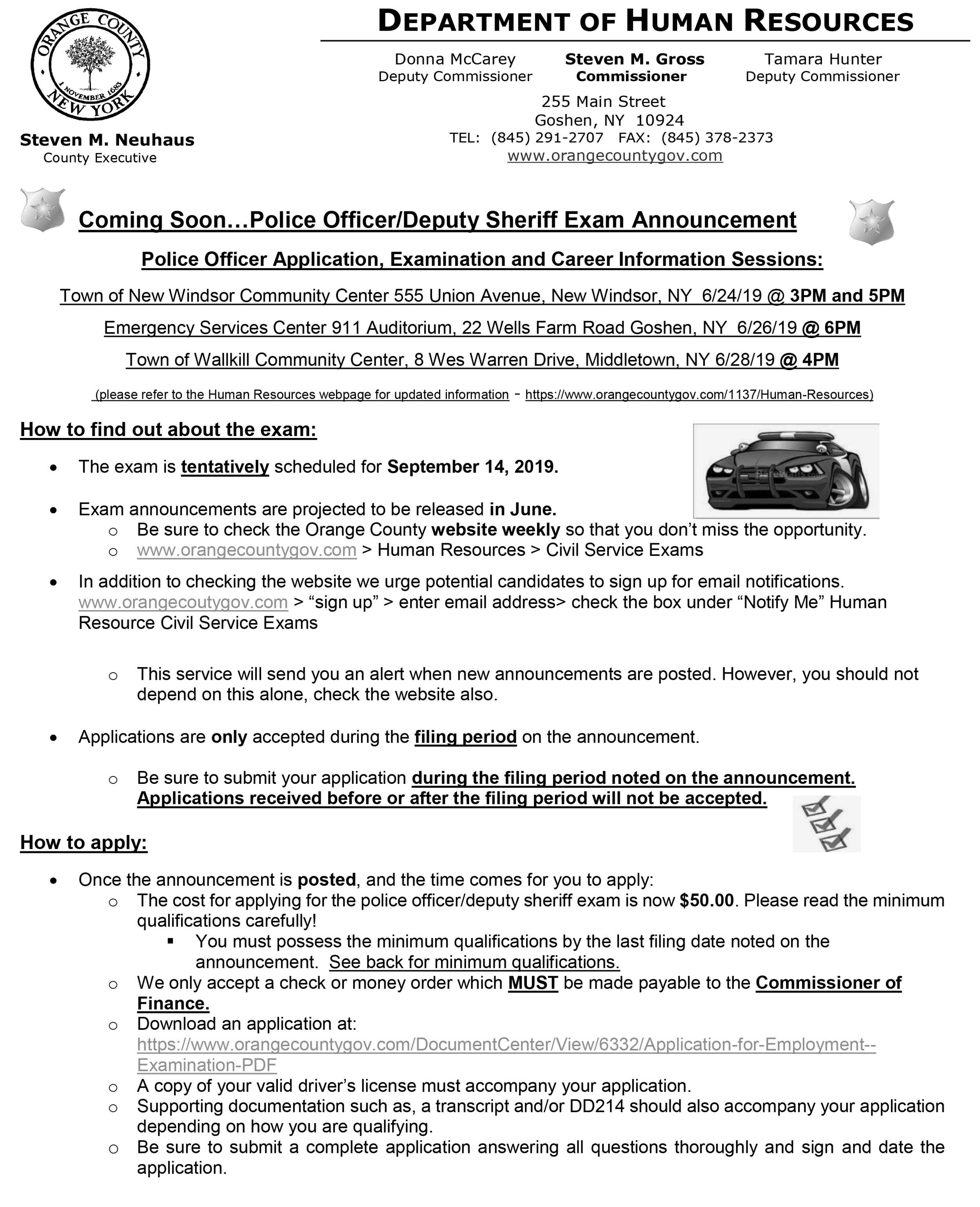 Orange County to offer Police Officer/Deputy Sheriff Exam in