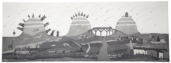 "Scenic Journey to Ft. Marion. Etching 14"" x 36""."
