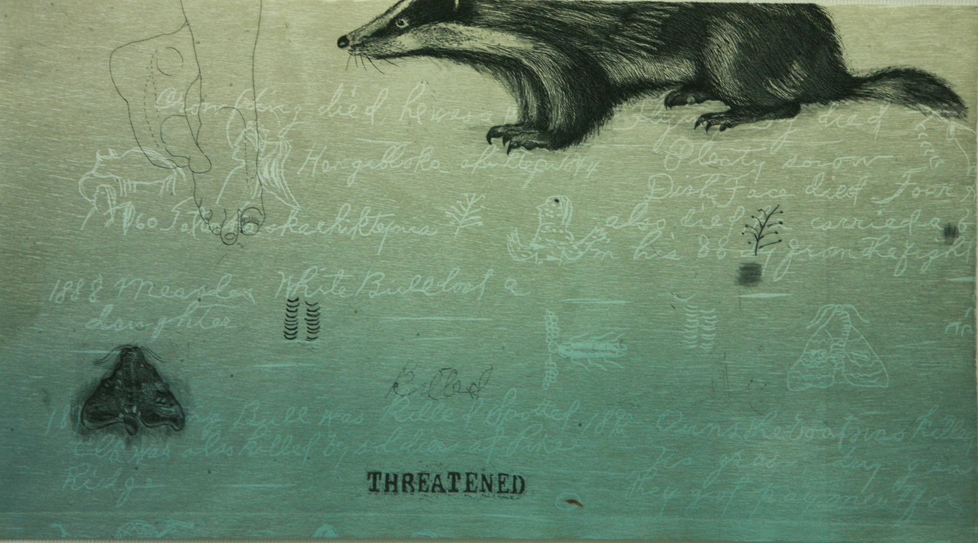 """Threatened,"" woodcut and etching"