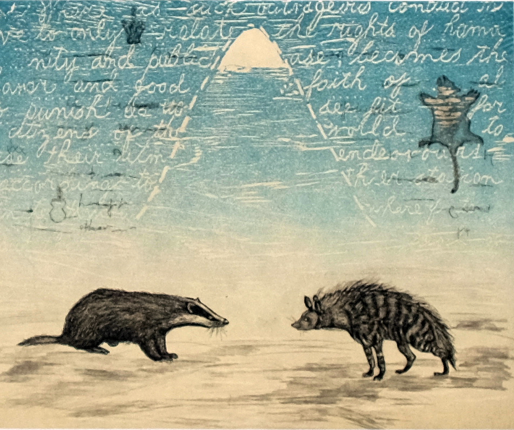"""""""Facing extinction,"""" etching and woodcut chine colle, 19"""" x 21"""", 2019  The spotted hyena and the badger are both on the endangered species list. They can fight each other or they can be pursued by man and end up as a trophy on a wall."""
