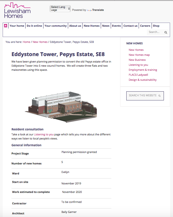 """Eddiestone Tower - """"We have been given planning permission to convert the old Pepys estate office in Eddystone Tower into 5 new council homes. We will create three flats and two maisonettes using this space.""""General informationProject StagePlanning permission grantedNumber of new homes5WardEvelynStart on siteNovember 2019Work estimated to completeNovember 2020Number of homes for social rent5Number of homes for sale0"""