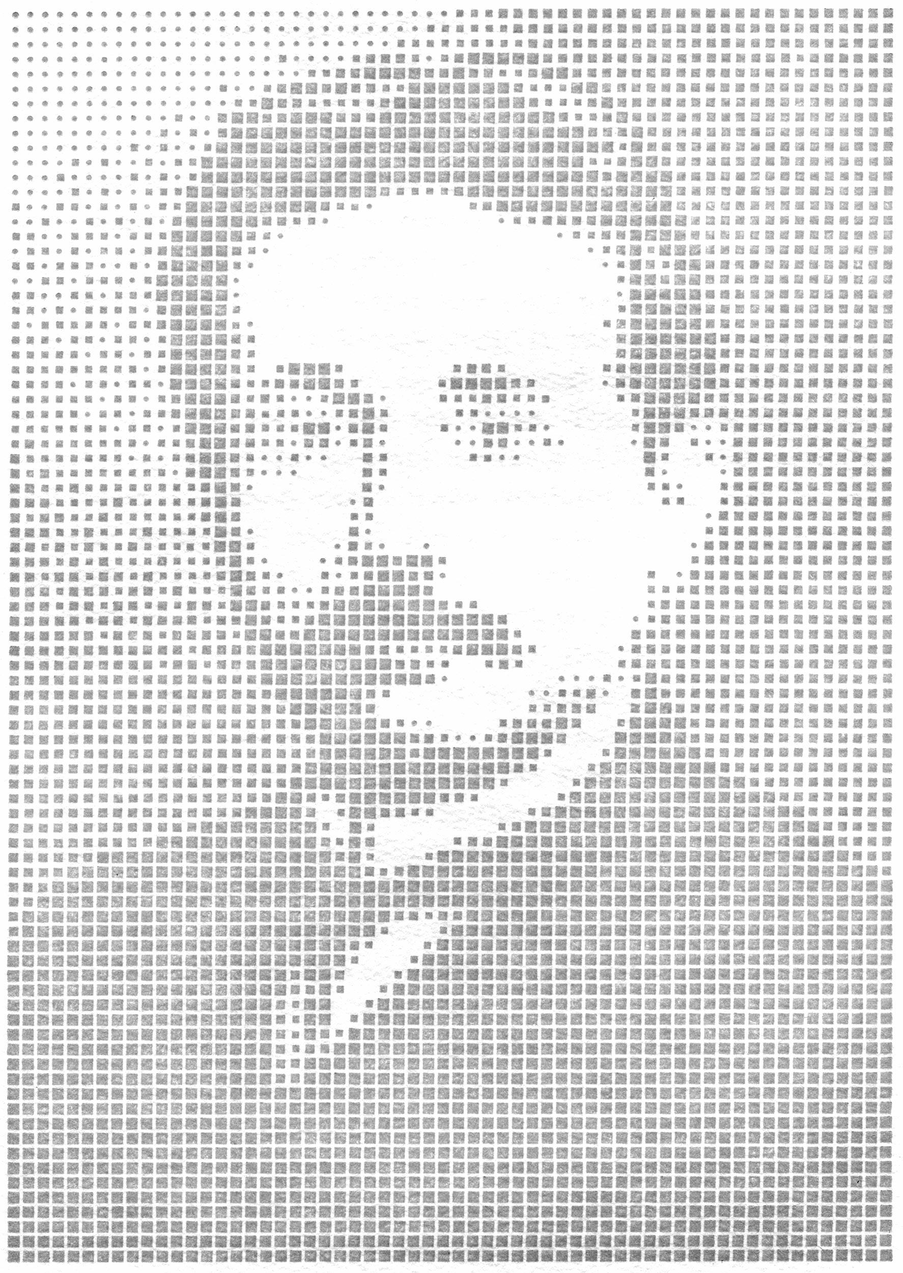Portrait of Albert Einstein, handset in units of six-point metal type
