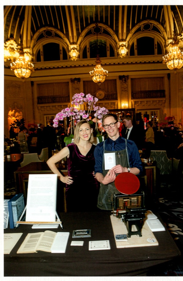 Program Director Sarah Lariviere and Typecaster Brian Ferrett at the SF Heritage Soiree, 2019