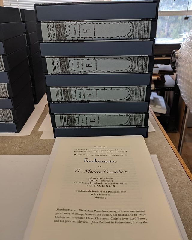 Come see us tonight at the Hosfelt Gallery for our publication party for Frankenstein!! TONIGHT - 5pm-7pm! 📚📖🖼️🎨🎉🕔 . . . . . . @arionpress #frankenprinting #frankenstein #frankensteinprinting #bookbinding #bookarts #fineart #finepress #fineprint #letterpress #letterpressprinters #letterpresssanfrancisco #letterpressprinting #letterpressfrankenstein #arionpress #mandhtype #mandhtypefoundry #hotmetaltype #leadtype #typefoundry #type #art #bookstagram