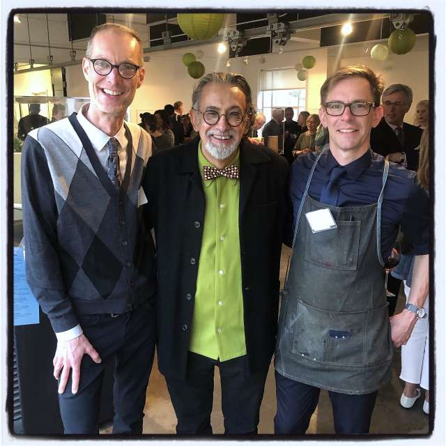 Publications Director Blake Riley, artist Enrique Chagoya and typecaster Brian Ferrett at the Grabhorn Institute Spring Benefit, 2019