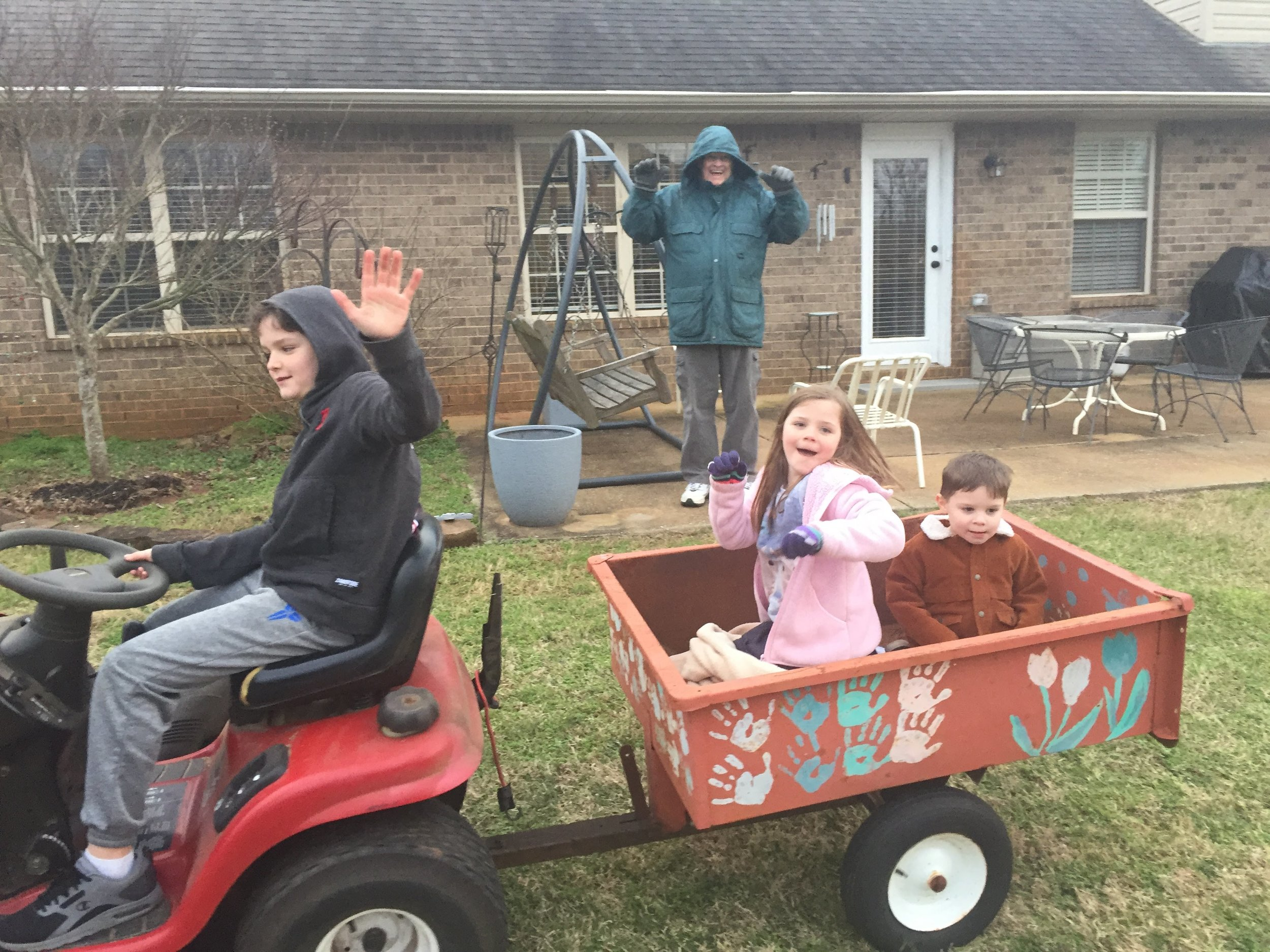 Driving Pawpaw's tractor!