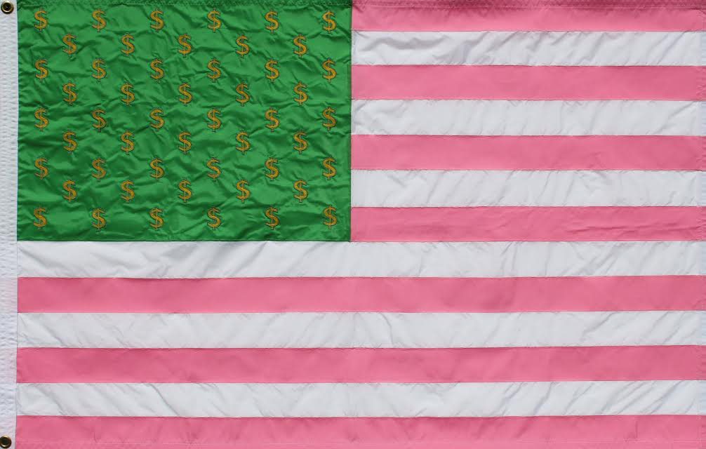 Kenneth Walker,  Flag of The People's Republic of Palm Beach , 2016, Applique/Embroidered, 48 × 72 in. (121.9 × 182.9 cm), Edition 15/4/20