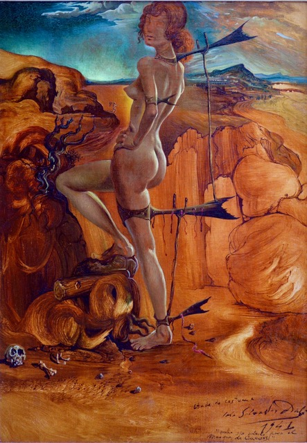 Salvador Dali (Spanish 1904-1989),  Costume for Nude with Codfish Tail,  1941, Oil on Canvas, 18 1/8 x 13 1/2 inches