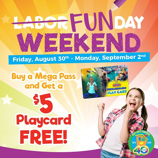 Our Labor Day weekend special is here! Buy a Mega Pass and get a $5 Playcard FREE! Join us for a weekend of fun at Putt-Putt FunHouse. . . . #Webster #Texas #PuttPutt  #FamilyFun #Summer #FunPark #FunHouse #OutdoorFun #IndoorFun #InstaTexas