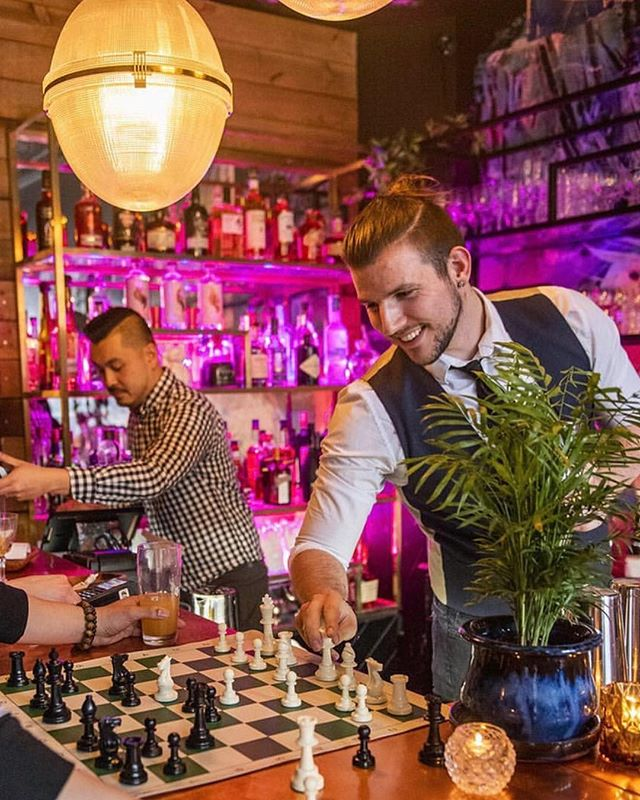 any good at chess? swing by and challenge our bartender @levlionn to a game. beat him and ur drink's on the house. || repost: @blogto 📸 @hctrvqz - - - - #toronto #queenwest #queen #westqueenwest #bar #friday #threemonksandaduck #youretheduck #quack #cocktails #beer #vegetarian #bartender #torontofood #foodporn #restaurantopening #microbar #launch #foodporn #friyay  #vegan #openingweekend #the6ix #chess #challenge #food