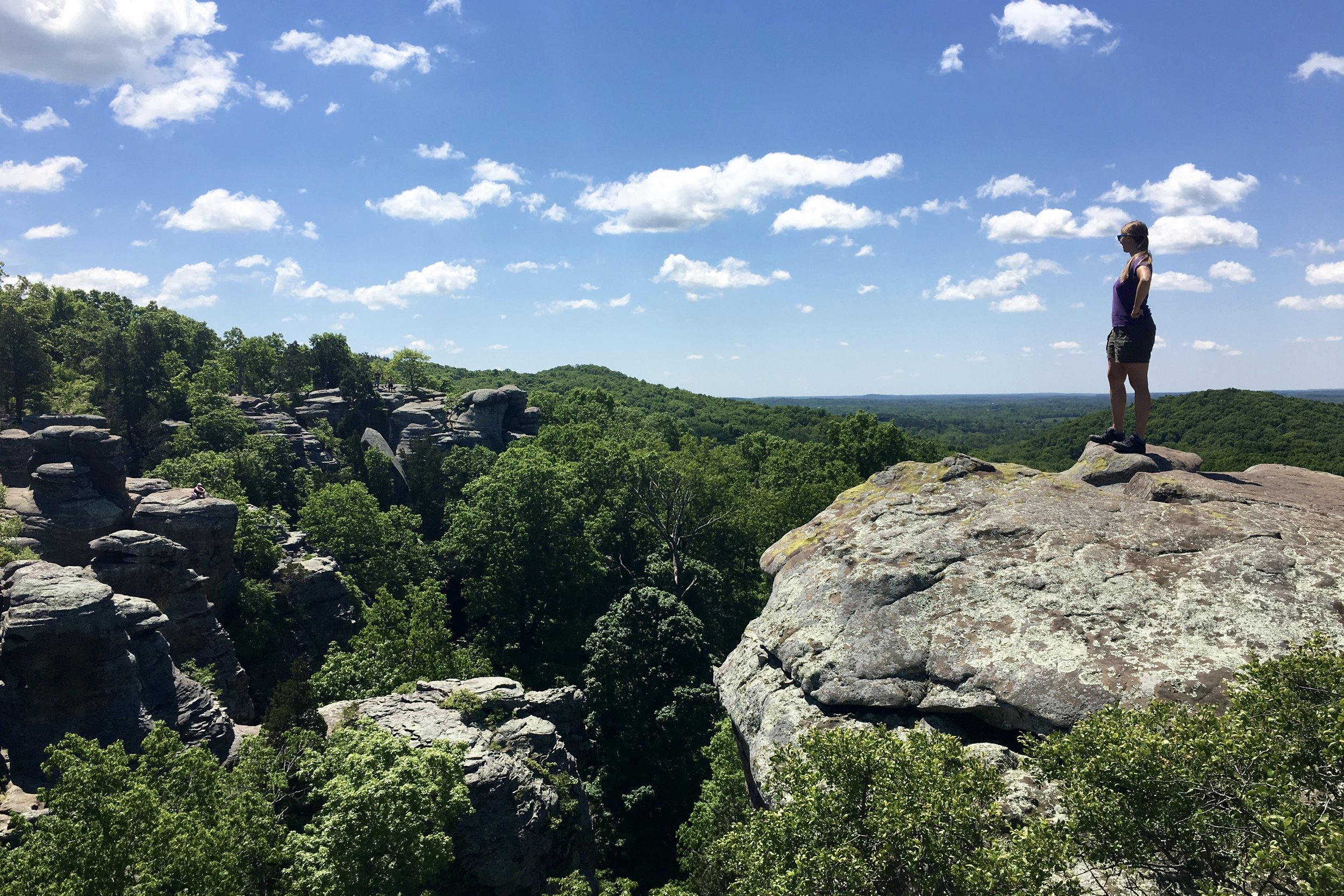 Here I am hiking at the Garden of the Gods in Shawnee National Forest in southern Illinois in May of 2017. The image of the rocks above is also from this trip.