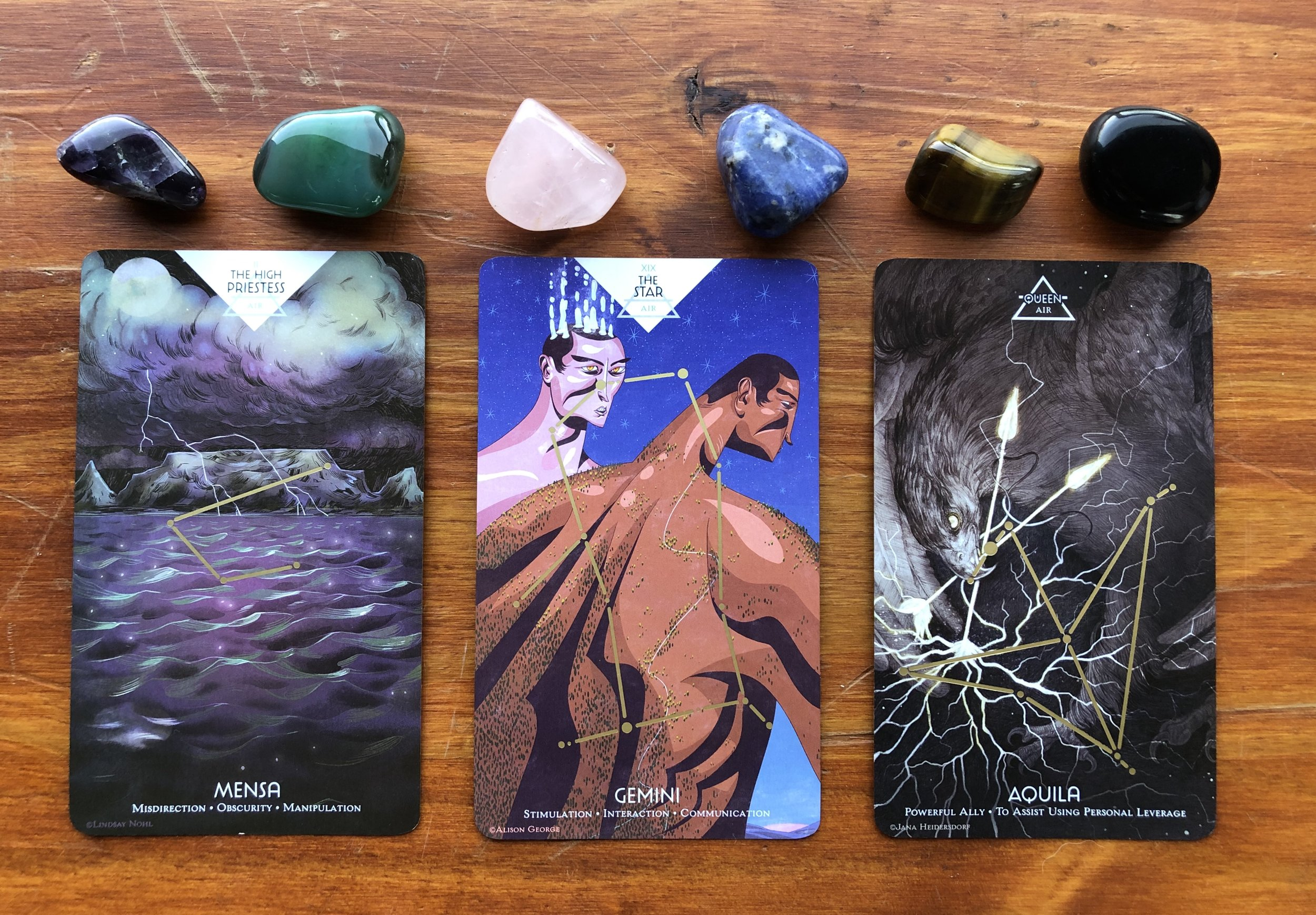 Cosmos Tarot from Light Grey Art Lab: High Priestess/Mensa, The Star/Gemini, Queen of Air/Aquila