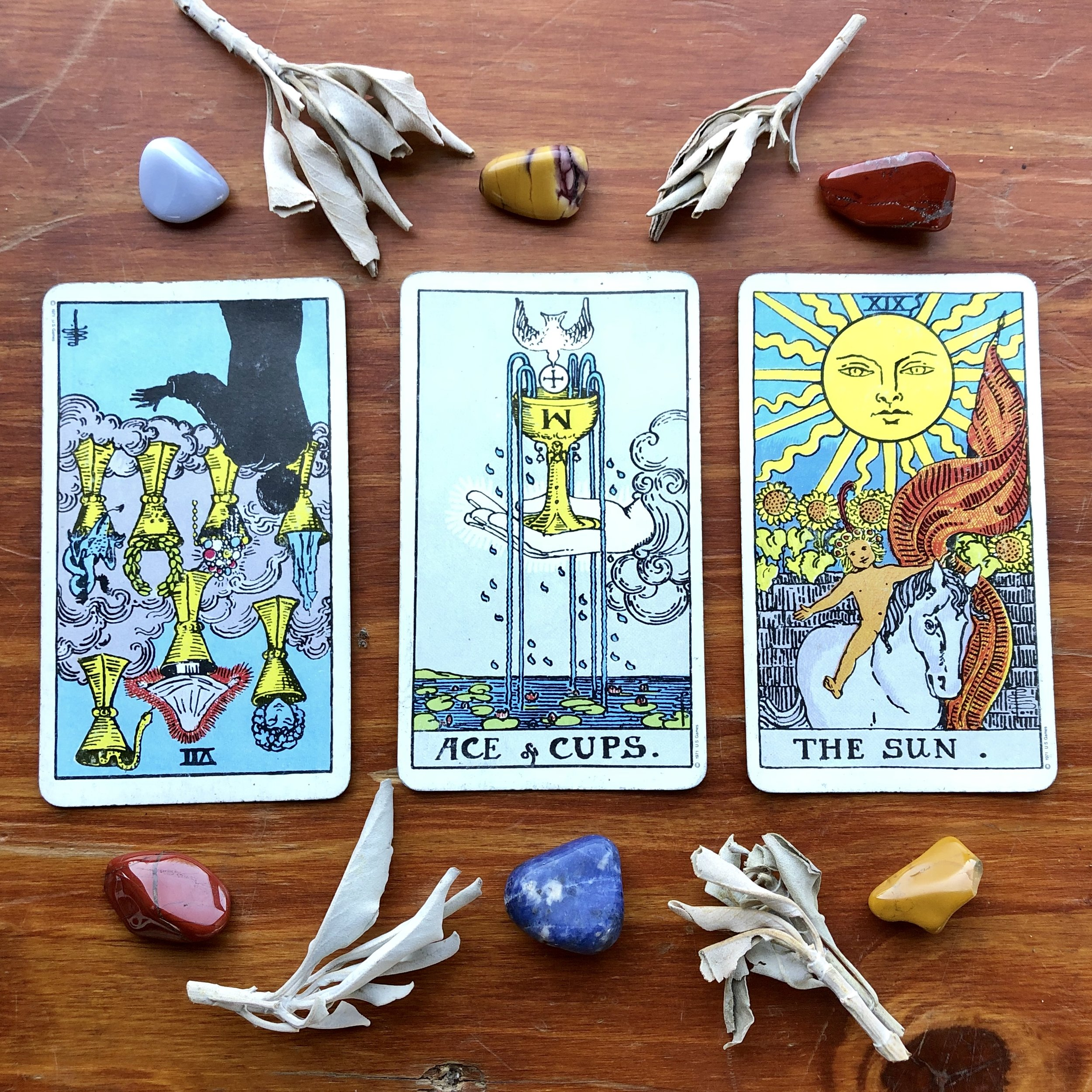 Rider Waite Smith Tarot Deck: VII of Cups, Ace of Cups, The Sun