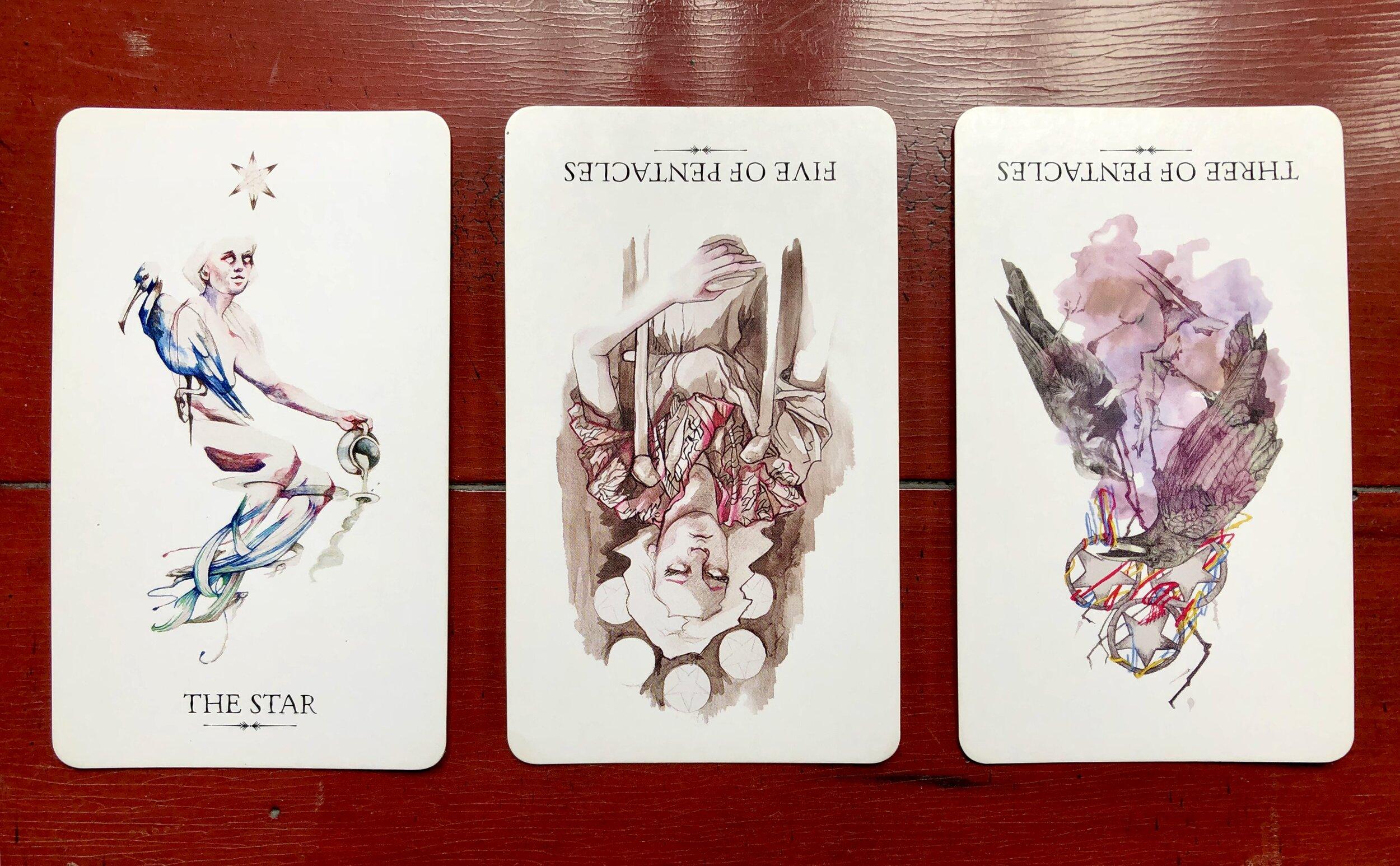 Ostara Tarot:   The Star,   V of Pentacles reversed,   III of Pentacles reversed