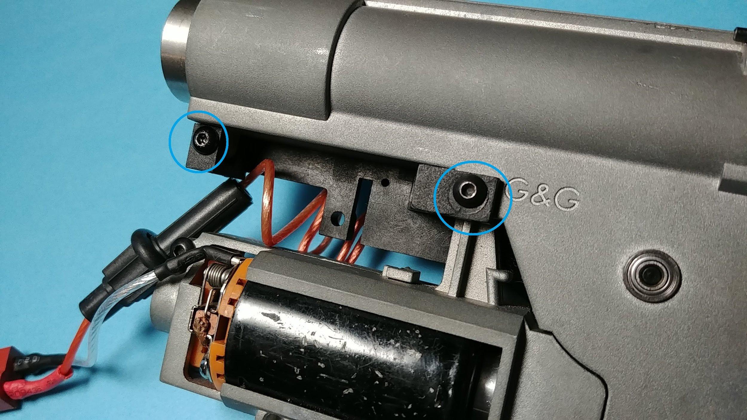 Remove screws to take off trigger unit