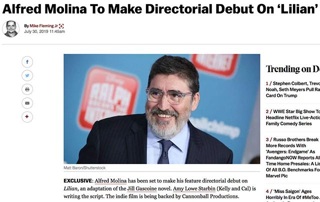 We are excited and honored to announce we will be producing Alfred Molina's directorial debut at Cannonball! Please check out the full article linked in our profile. #lilianmovie #alfredmolina #deadline